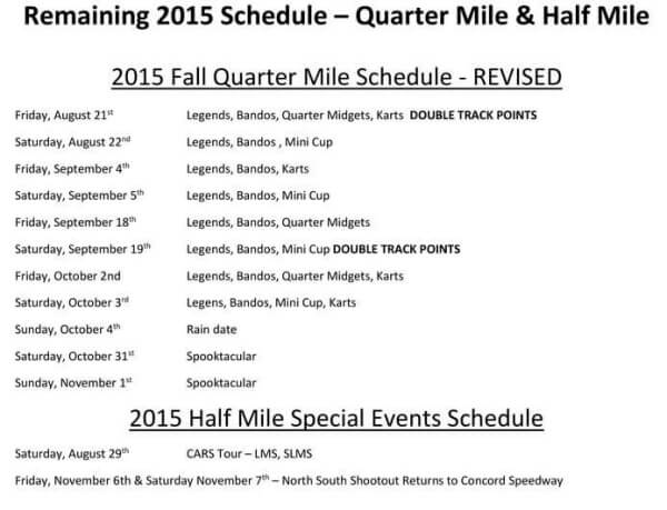 Concord Speedway fall schedule 8-27-15