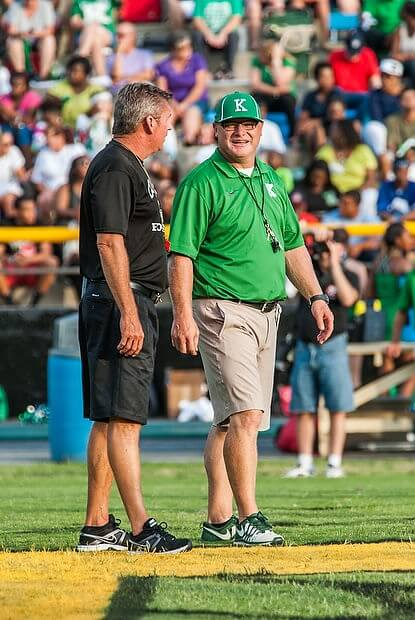 Independent Tribune photographer James Nix captured this shot of Concord Coach Glen Padgett and A.L. Brown Coach Mike Newsome at last year's Battle for the Bell