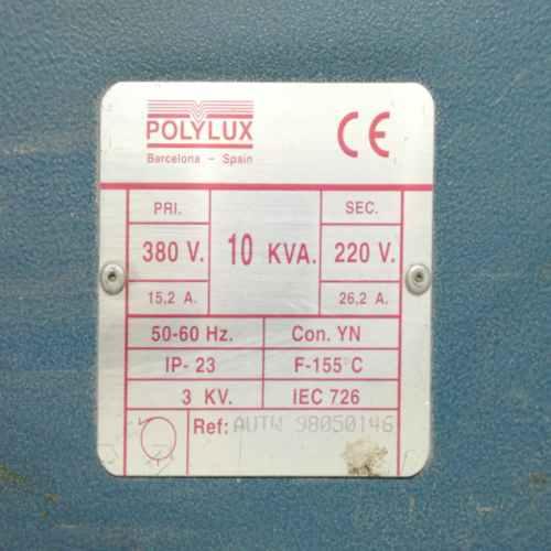 Transformador elèctric POLYLUX 10KVA de segona mà en venda a cabauoportunitats.com Balaguer - Lleida - Catalunya