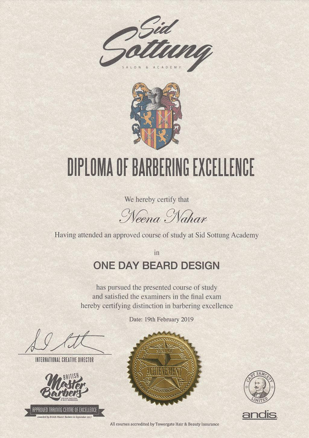 Sid Sottung academy diploma on display at Cabelo hair salon in Limes Road, Tettenhall
