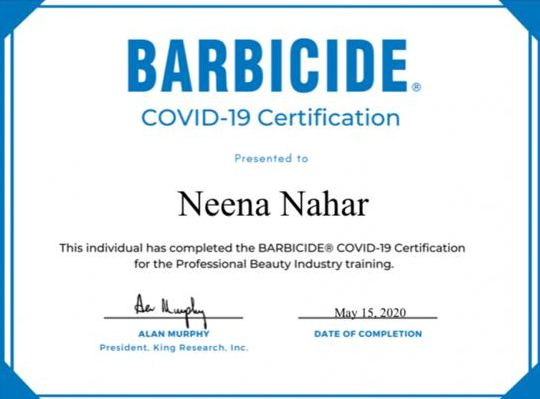 Neena BARBICIDE®️ Covid-19 Certification