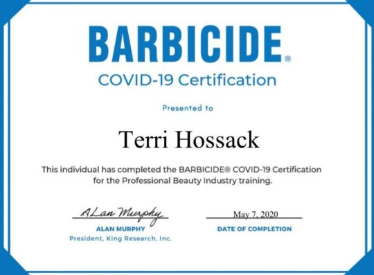 Terri BARBICIDE®️ Covid-19 Certification
