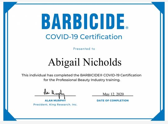 Abi BARBICIDE®️ Covid-19 Certification