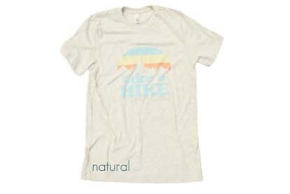 "tan t-shirt that reads ""Take a Hike"""