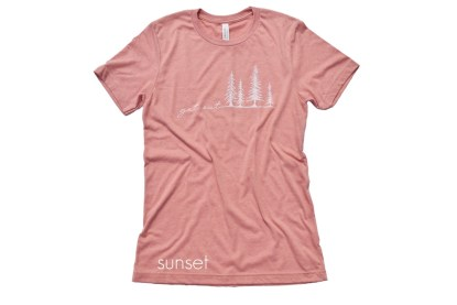 coral/sunset t-shirt that reads Get Out with tree illustrations