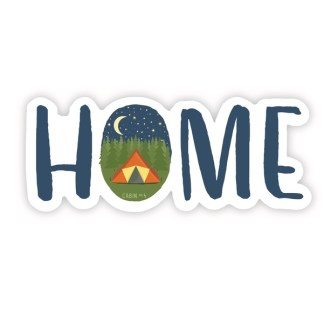 HOME sticker with camping image