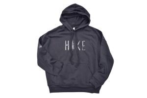 cozy hoodie sweatshirt that says HIKE on chest - charcoal