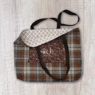 tote bag: grey and brown plaid flannel exterior and taupe pattern interior