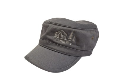 grey colored military/corps hat with Cabin No. 4 logo embroidery