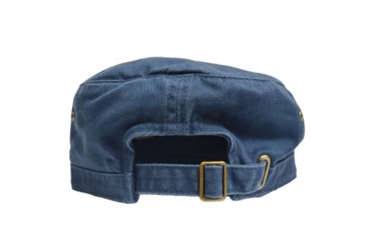 navy colored military/corps hat - back with brass buckle closure