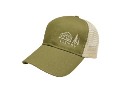 Olive and oyster mesh back trucker hat with Cabin No. 4 logo