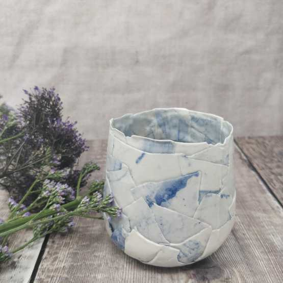 Patchwork blue porcelain tealight holder