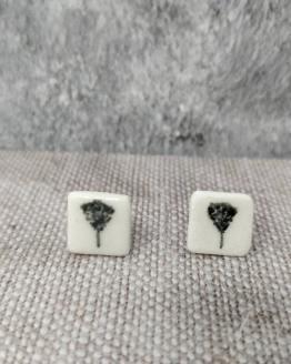 Ceramic earrings with black tree design