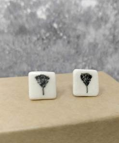 Ceramic earrings with black tree design