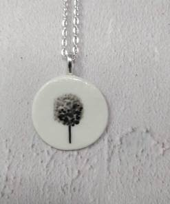 Ceramic pendant with black tree design