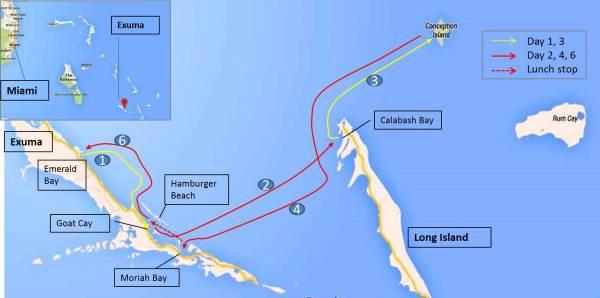 Itinerary, Exumas, Bahamas, Cabin Charter Sailing
