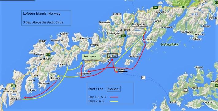 Norway Sail, 5-12Aug16, Itinerary