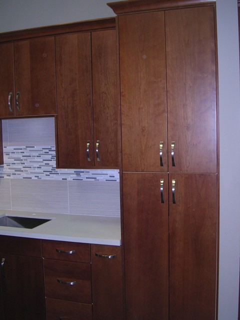 Kitchen With Cherry Cabinets Natural Cherry Flat Panel Kitchen Cabinets