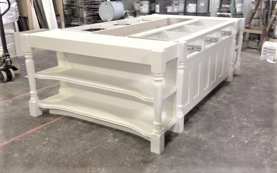Kitchen Island in White Finish- No Drawer Boxes