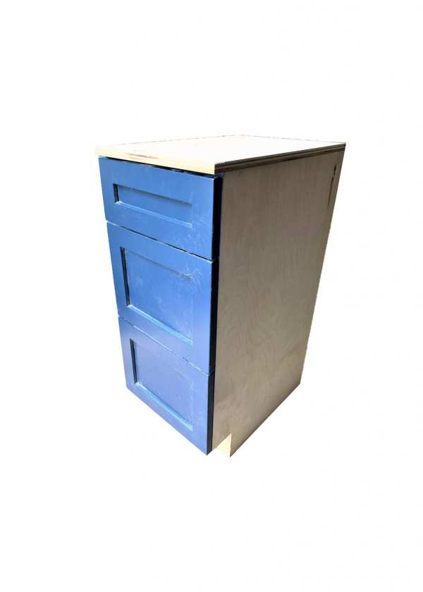 Cabinet Drawer Section in Blue Painted Finish