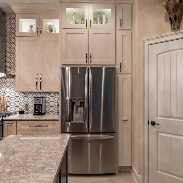 remodeled kitchen ceramic tile remodel in beulah modern classic and dining room cabinet with dura supreme s breckenridge cabinets white painted finish