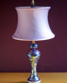 Susan Goldstick DecorativeTable Lamps - Shirley / Small Drum Orchid Silk Shade