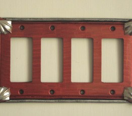 Susan Goldstick Decorative Switch plate Cleo QUAD DECORA Ruby