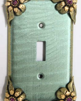 Susan Goldstick Decorative Switchplates Bloomer Ivy Switch Cover 1- Aqua/Jade/Amethyst Crystal