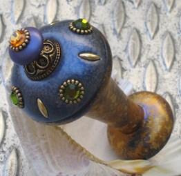 Susan Goldstick Decorative Curtain Tiebacks - Tieback Isabella II - Pewter/Periwinkle
