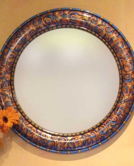 Susan Goldstick Decorative Mirror - Aurora Mirror-Copper/Lapis/Amber/Deep Gold