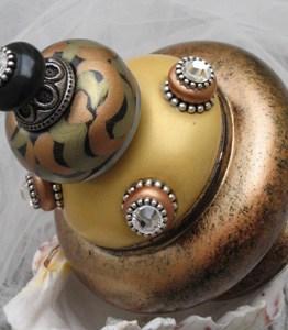 Susan Goldstick Finials Banister Ball Tiki-Light Gold/Black/Amber/Jade