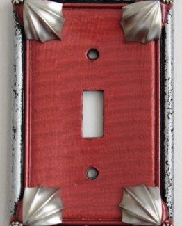 Susan Goldstick Decorative Switchplates Cleo Switch Cover1 - Ruby/Silver/Crystal