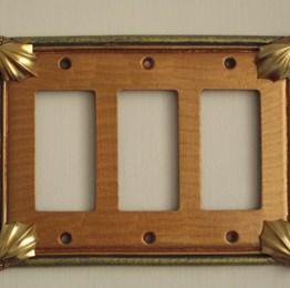 Susan Goldstick Decorative Switch plates Cleo Rocker Triple Amber