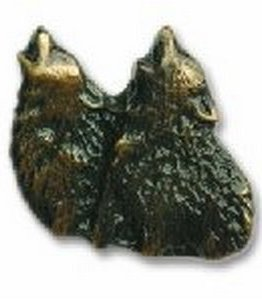 Buck Snort Lodge Cabinet Knobs and Pulls - Dual Howling Wolf