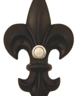 Waterwood Hardware Decorative Fleur Di Lis Doorbell-Large-Black