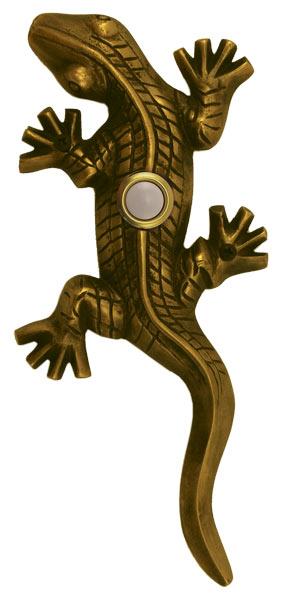 Waterwood Hardware Decorative Lizard ( Gecko )Doorbell-Antique Brass
