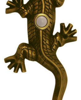 Waterwood Hardware Decorative Lizard ( Gecko )Doorbell-Antique Brass