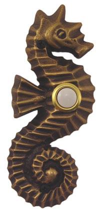 Waterwood Hardware Decorative Seahorse Doorbell-Antique Brass