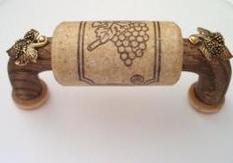 Vine Designs Walnut Cabinet Handle, natural cork, gold leaf accents