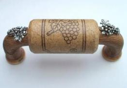 Vine Designs Walnut Cabinet Handle, matching cork, silver grapes accents