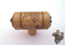 Vine Designs Walnut Stem Cabinet knob, matching cork, silver  leaf accents