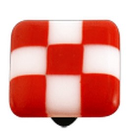 Hot Knobs Glass Cabinet Knob, Brick Red White Squares