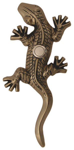 Waterwood Hardware Decorative Lizard ( Gecko )Doorbell-Pewter