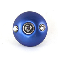 Susan Goldstick Mini #1 Lapis Swarovski Crystals 2 inch Cabinet Knobs