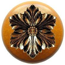 Notting Hill - Opulent Flower Wood Knob in Brite Brass/Maple wood finish