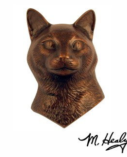 Michael Healy Designs Cat Door Knocker Oiled Bronze