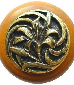 Notting Hill Cabinet Knob Tiger Lily/Maple Antique Brass
