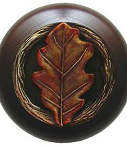 Notting Hill Cabinet Knob Oak Leaf/Dark Walnut Brass Hand Tinted