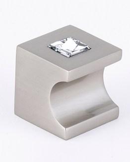 Alno Decorative Hardware Cabinet Knob Swarovski Crystal Satin Nickel