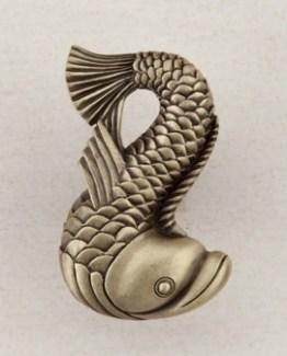 Acorn Manufacturing Dolphin Cabinet Knob Antique Brass